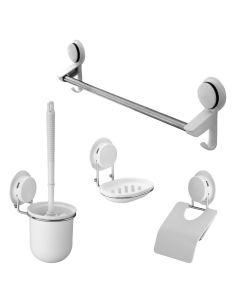 Set accesorii baie, 4 piese (perie wc + suport hartie igienica + suport sapun + bara prosoape) cu ventuze HeavyLock de mare putere