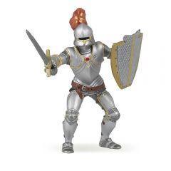 Figurina Papo-Cavaler medieval in armura rosie
