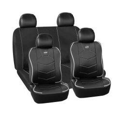 Huse scaune auto Momo piele ecologica+ material textil negru cu ornamente gri 11 Bucati