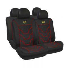 Huse scaune auto Momo negru cu ornamente rosii 11 Bucati