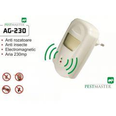 Aparat cu unde electromagnetice pentru alungat rozatoare, soareci, sobolani, gandaci, Pestmaster Ag230, 230 mp