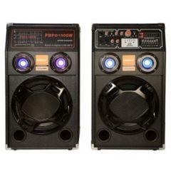 Sistem boxe audio active , bluetooth, carcasa din lemn negru, lumini multicolore
