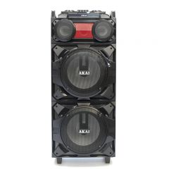 Boxa audio AKAI , Portabila , Profesionala puternica, Microfon Wireless, Telecomanda , AUX / USB / SD / BT / FM , Functie vocala , Cablu AUX-IN , Negru