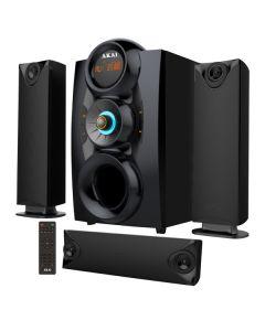 Sistem AKAI de Boxe Multimedia 3.1, 75W, Subwoofer puternic , Port USB , Impedanta 8 + 4 Ohmi , Sensibilitate ≥ 45 dB , Raspuns frecventa 35 - 20K Hz , Negru