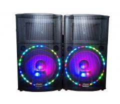 Set boxe  audio cu statie Vlliodor NRS , cu Bluetooth , Usb , SD card , joc de lumini Disco Party pe  woofere ,mixer Dj , 2 microfoane wireless cu afisarea frecventei