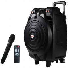 Boxa audio AKAI , Portabila , Microfon wireless , Bluetooth , Port USB , Aux intrare , Telecomanda inclusa, Culoare Negru , 8 Ohmi , 50 W , Baterie Reincarcabila
