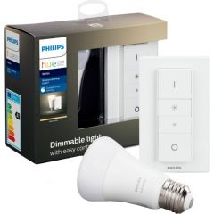 Pachet Bec inteligent LED Philips HUE, Bluetooth/Wireless, E27, 9W (60W), 806 lm, A+, lumina alba + Intrerupator