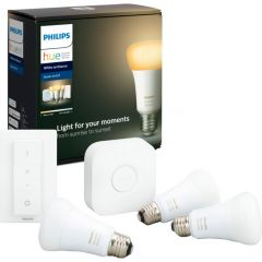 Pachet 3 becuri inteligente LED Philips HUE, Bluetooth/Wireless, E27, 9W, 806 lm + Bridge si Variator
