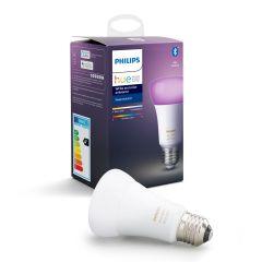 Bec inteligent LED RGBW Philips HUE, Bluetooth/Wireless, E27, 9W (60W), 806 lm, A+, lumina alba/color