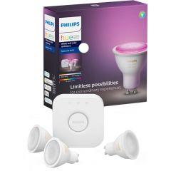 Pachet 3 becuri inteligente LED RGBW Philips HUE, Bluetooth/Wireless, GU10, 5.7W, A+, lumina alba/colorata + Consola Bridge inclusa