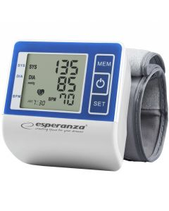 Tensiometru de incheietura Vigor Esperanza, 90 memorii, metoda oscilometrica, Alb/Albastru