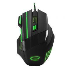 Mouse optic Esperanza Mx201 Wolf Green, 7d, USB, Negru/Verde