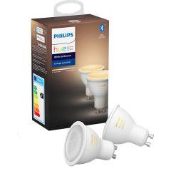 Pachet 2 spoturi inteligente LED Philips HUE, Bluetooth/Wireless, GU10, 5W (50W), 350 lm, A+, lumina alba
