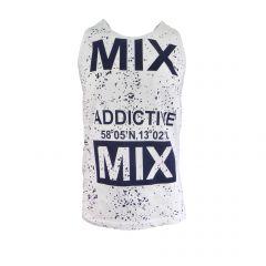 "Maiou barbat Scarface - alb cu imprimeu albastru ""MIX ADDICTIVE"" - XL"