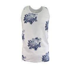Maiou barbat Scarface - alb cu imprimeu  flori albastre - XL