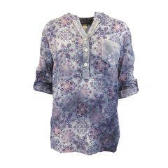 Bluza Univers Fashion - albastru cu imprimeu etnic multicolor - L-XL