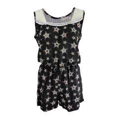 Salopeta scurta, Univers Fashion, cu 2 buzunare, culoare negru cu imprimeu multicolor stea si elastic la talie - M-L
