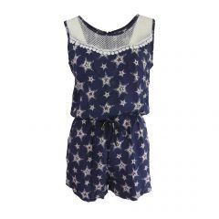 Salopeta scurta, Univers Fashion, cu 2 buzunare, culoare albastru cu imprimeu multicolor stea si elastic la talie - M-L