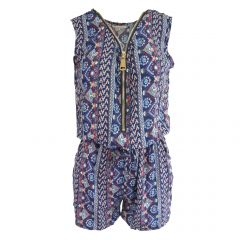 Salopeta scurta, Univers Fashion, cu 2 buzunare si fermoar in fata - albastru cu imprimeu multicolor, elastic la talie - M-L