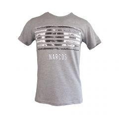 """Tricou Univers Fashion - gri, imprimeu cu dollar """"NARCOS"""" – L"""