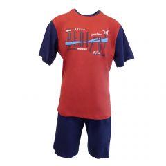 "Pijama barbat, Univers Fashion - bluza grena cu imprimeu ""Sometimes PERFECT"" - pantaloni scurti albastru uni - 2XL"