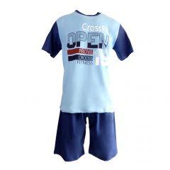 "Pijama barbat, Univers Fashion – bluza albastru deschis cu imprimeu ""OPEN"" - pantaloni scurti albastru inchis uni - S"