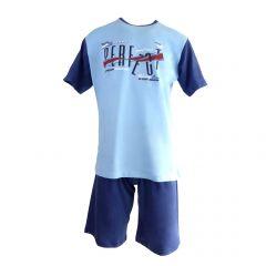"Pijama barbat, Univers Fashion – bluza albastru deschis cu imprimeu ""Sometimes PERFECT"" - pantaloni scurti albastru inchis uni - 2XL"