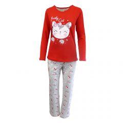 Pijama dama - Univers Fashion - bluza rosie cu imprimeu 'Lovely Cat