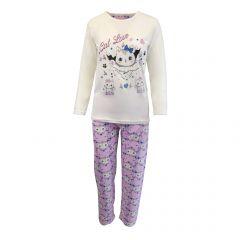 Pijama dama - Univers Fashion - bluza alba cu imprimeu 'Cat Love