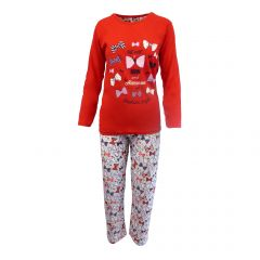 Pijama dama - Univers Fashion - bluza rosie cu imprimeu 'Wear a bow