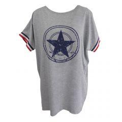 Bluza Univers Fashion - gri cu stea pe piept si banda tricolor la maneca - L-XL