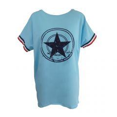 Bluza Univers Fashion - albastru deschis cu stea pe piept si banda tricolor la maneca - L-XL