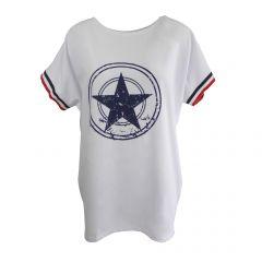 Bluza Univers Fashion - alb cu stea pe piept si banda tricolor la maneca - L-XL