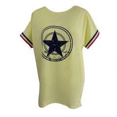 Bluza Univers Fashion - galben cu stea pe piept si banda tricolor la maneca - L-XL