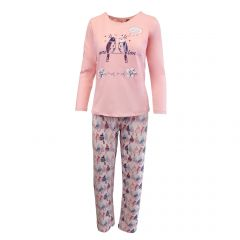 Pijama dama - Univers Fashion - bluza roz cu imprimeu 'more love