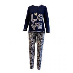 Pijama dama, Univers Fashion, albastru, bluza cu imprimeu 'Love