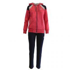 Trening dama Univers Fashion - jacheta culoare fucsia cu 2 buzunare cu fermoare, pantalon albastru cu 2 buzunare - L