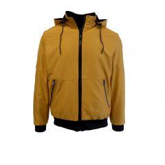 Geaca/Hanorac reversibil Univers Fashion - galben mustar/negru cu gluga – L