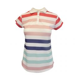 Tricou polo Univers Fashion - alb cu dungi multicolore - 2XL
