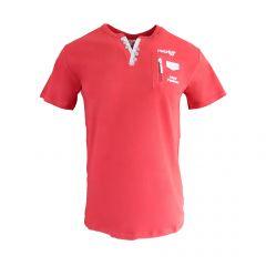 Tricou Mastiff - rosu cu buzunar fals cu fermoar la piept - M