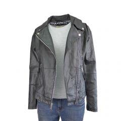 Jacheta dama Itenly Fashion - culoare neagra cu 2 fermoare in fata - piele ecologica - M