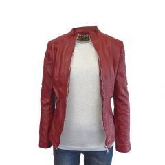 Jacheta dama Itenly Fashion - culoare rosu - material piele ecologica - M