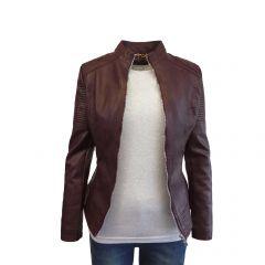 Jacheta dama Itenly Fashion - culoare visiniu - material piele ecologica - S