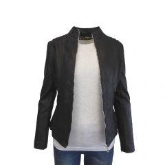 Jacheta dama Itenly Fashion - culoare neagra - piele ecologica - S