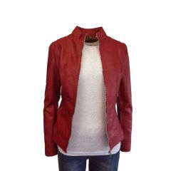 Jacheta dama Itenly Fashion - culoare rosu - piele ecologica - XL