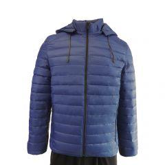 Geaca usoara, Univers Fashion, aspect matlasat cu vatelina si gluga ajustabila, albastru deschis - L