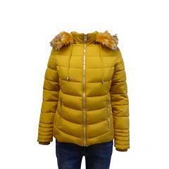 Geaca dama Univers Fashion cu vatelina, blana sintetica detasabila la gluga, culoare galben mustar - XS