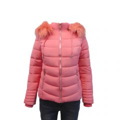 Geaca dama Univers Fashion cu vatelina, blana sintetica detasabila la gluga, culoare roz pudra - M