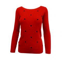 Pulover Univers Fashion rosu cu flori brodate negre - S-M