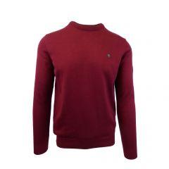 Pulover, Univers Fashion, tricotat fin cu terminatii striate, cu decolteu la baza gatului, Rosu Bordeaux - 2XL